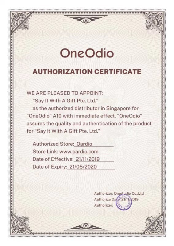 OneOdio Authorized Dealer Certificate